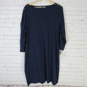 Karen Scott Dress Womens 2X Intrepid Blue Cotton